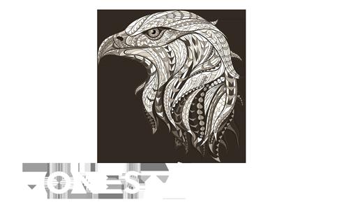 Honest Academy logo águila white